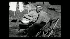 Wyoming doing laundry in camp 1935 B-W - stock footage