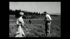 Wyoming Jackson Lake Picnic 1934 B-W Stock Footage