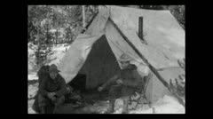 Wyoming messing around at camp 1935 B-W Stock Footage