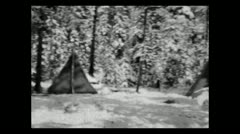 Wyoming new snow in camp 1935 B-W - stock footage