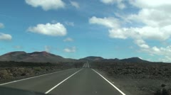 Cameracar on the road - The Fire Mountains, Lanzarote Stock Footage