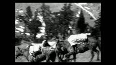 Wyoming trouble with the pack train 1935 B-W Stock Footage