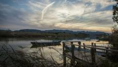 Time Lapse of Sunset in the Albufera Natural Park of Valencia Stock Footage