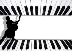 Background musician playing bass on piano keys Stock Photos