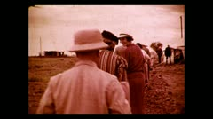 Walking to the Imperial Ariways breakfast tent along the Nile 1937 Stock Footage