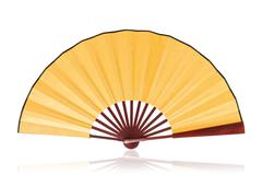 Yellow Chinese fan (Clipping path) isolated on white background Stock Photos