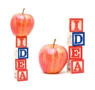 Alphabet Blocks IDEA and apple isolated on white background Stock Photos