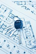 House keys and plan background Stock Photos
