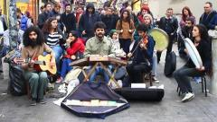 Street musicians - stock footage