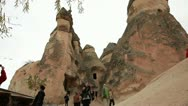 Stock Video Footage of Group of  tourist visiting famous city  Cappadocia in Turkey