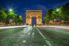 Arc de Triomphe at Night - stock photo