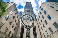 Atlas Statue at Rockefeller Center in Manhattan, New York City - NYC, USA Stock Photos