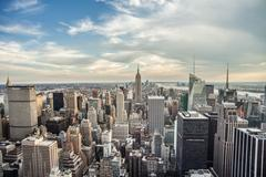 Manhattan New York City Empire State Building NYC Day Clouds Beautiful Stock Photos
