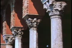 The Cathedral of Torcello, Island of Torcello outside Venice, column tops Stock Footage