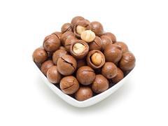 Macadamia in bowl - stock photo