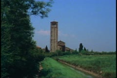 The Cathedral of Torcello, The Island of Torcello outside Venice, bell tower Stock Footage