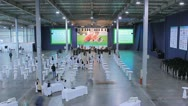 Stock Video Footage of The exhibition preparation and opening, wide-angle view, time-lapse