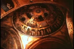 Saint Mark's Basilica, Venice, Italy interior, domes with mosaics, wide shot Stock Footage
