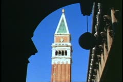 Saint Mark's Square, Venice, Italy, Campanile, bell tower, arcade arch Stock Footage