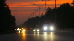 The morning-evening city cars traffic (with sound) Stock Footage