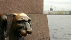 Bronze figure of a griffin on the Neva River, St.Petersburg, Russia - stock footage