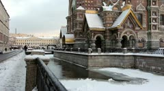 Savior on the Spilled Blood and Griboyedov Canal in winter,St.Petersburg, Russia Stock Footage