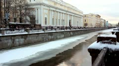 Griboyedov Canal in winter, St.Petersburg, Russia Stock Footage