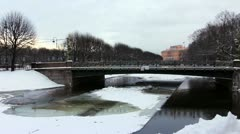 Moika river and old bridge in winter, St.Petersburg, Russia Stock Footage