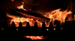 Logs burning on a fire Stock Footage