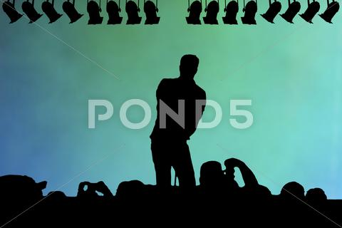 Stock Illustration of silhouette of a live performer on stage