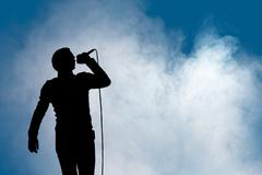 performing artist at concert - stock illustration