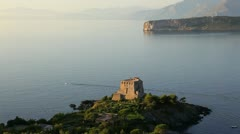 Scalea bay Watchtower, Italy Stock Footage