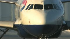 Aircraft taxiing extreme close up Stock Footage