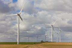 green energy wind turbines - stock photo