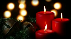 Red Candles And Christmas Bells Loop Stock Footage