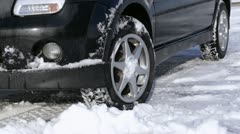 Car on snow, winter tires Stock Footage