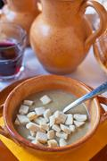 Ferrara soup with warm croutons Stock Photos