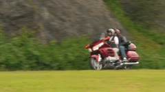Couple with Motorcycle Riding on the Blue Ridge Parkway - stock footage