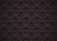 Dark baroque wallpaper with texture - stock illustration