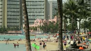 Stock Video Footage of Beach resort in Waikiki Hawaii