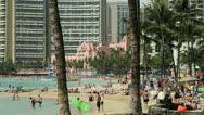Stock Video Footage of Beach resort in Waikiki Hawaii