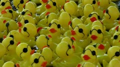Floating rubber yellow ducks (toys) Stock Footage