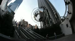 New York City- Columbus Circle-Globe Sculpture, Trump Hotel Stock Footage