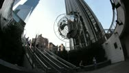 Stock Video Footage of New York City- Columbus Circle-Globe Sculpture, Trump Hotel