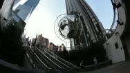 New York City- Columbus Circle-Globe Sculpture, Trump Hotel Stock Footage