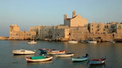 Little port and old town, Glovinazzo, Italy Stock Footage