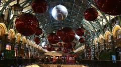 Christmas lights at Convent Garden, London 3 Stock Footage