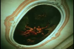 A Tiepolo on the ceiling of the Ca' Rezonica in Venice, Italy Stock Footage