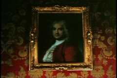 Venice, Italy, Palazzo, Ca' Rezonica, painting of man by Rosalba Carriera Stock Footage