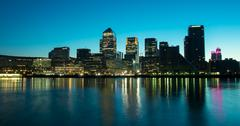 docklands by night - stock photo